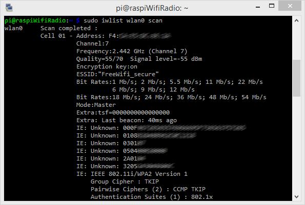 Liste des réseaux wifi