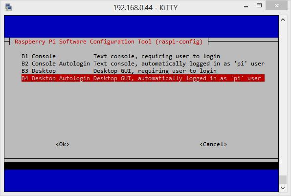 Le Raspberry doit aller jusqu'à se connecter sur l'interface graphique
